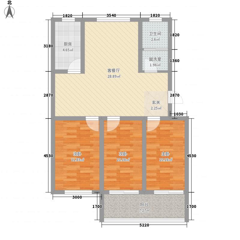 文苑二期112.00㎡高层11号楼K户型3室2厅1卫1厨