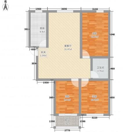 文苑二期3室1厅1卫1厨112.00㎡户型图
