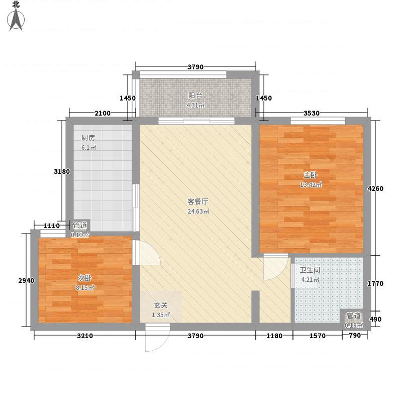 车城小区23-3户型2室2厅1卫1厨