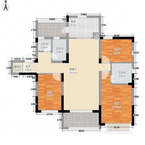 吴月雅境3室1厅3卫1厨137.00㎡户型图