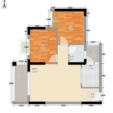 合和人家2室1厅1卫1厨78.00㎡户型图