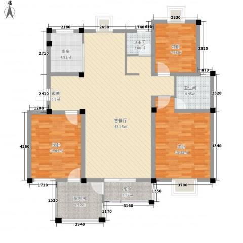 华美生态园3室1厅2卫1厨141.00㎡户型图
