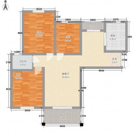 弘达名筑3室1厅1卫1厨129.00㎡户型图