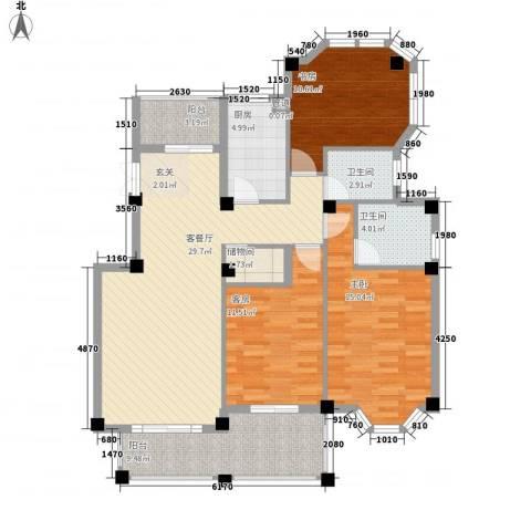 柏顿公馆2室1厅2卫1厨132.00㎡户型图