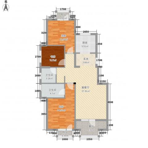 郡原美村3室1厅2卫0厨122.00㎡户型图