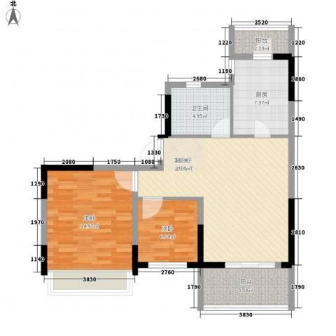 吴月雅境2室1厅1卫1厨86.00㎡户型图