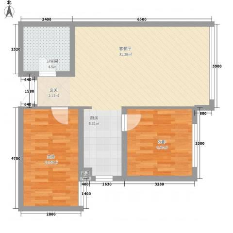 大唐天下江山2室1厅1卫0厨80.00㎡户型图