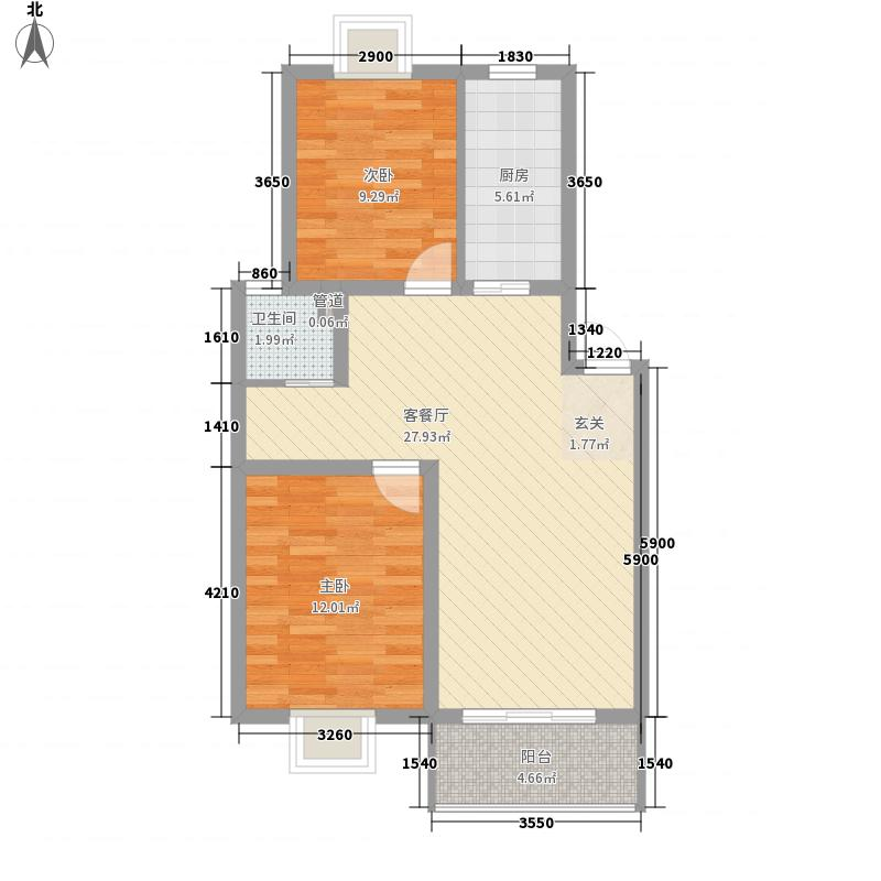 世纪尊园87.80㎡户型2室2厅1卫1厨