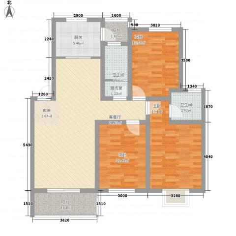 世纪尊园3室2厅2卫1厨119.00㎡户型图