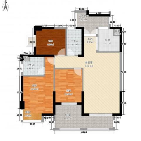 海投天湖城3室1厅2卫1厨99.97㎡户型图