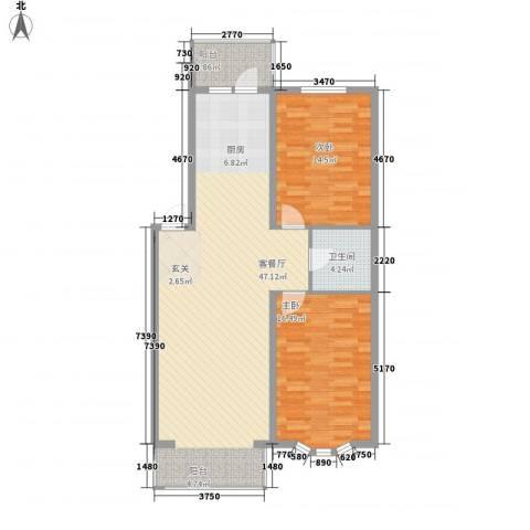 北岸明珠2室1厅1卫0厨86.20㎡户型图
