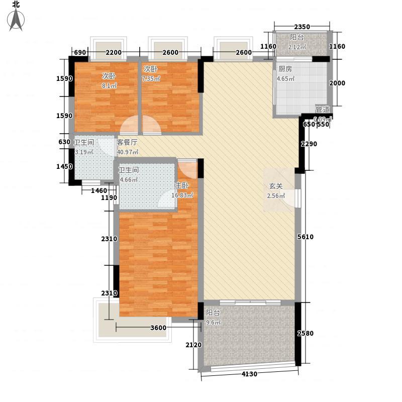 怡景湾137.65㎡4、5栋标准层01户型3室2厅2卫1厨