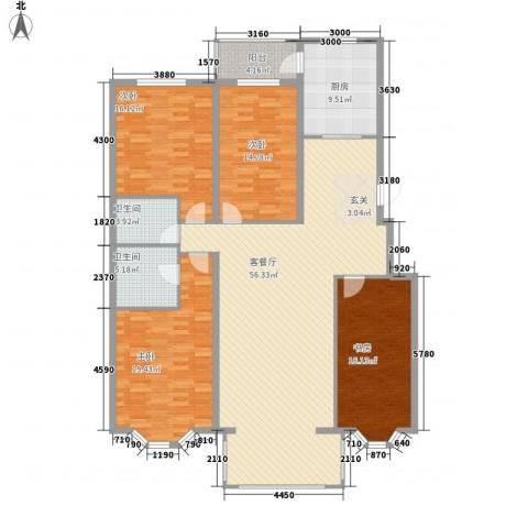 北岸明珠4室1厅2卫1厨145.57㎡户型图