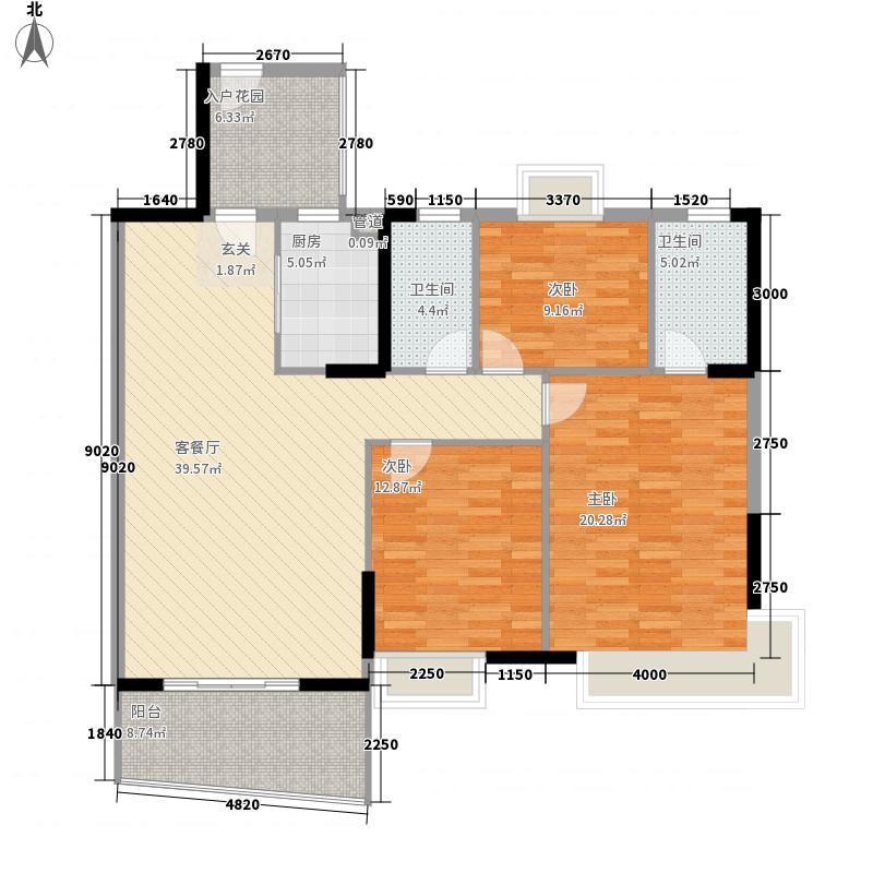 怡景湾128.50㎡1栋标准层01户型3室2厅2卫1厨