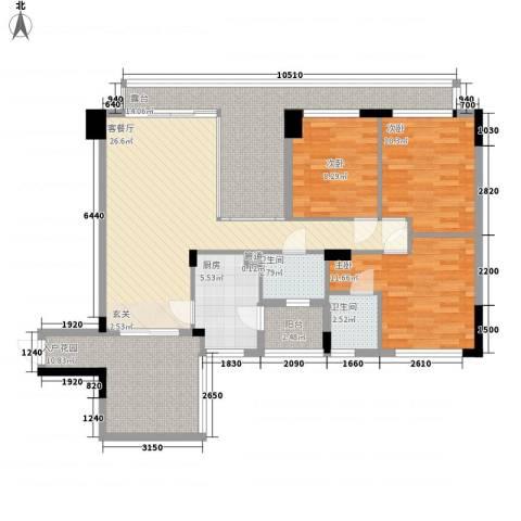 城东名门3室1厅2卫1厨139.00㎡户型图
