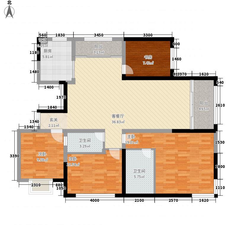 经纬印象151.11㎡A2(15111)户型3室2厅1卫1厨