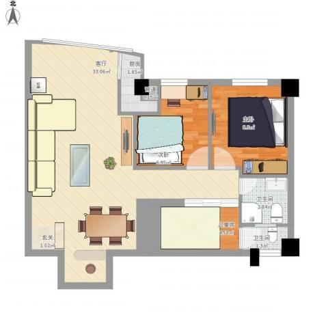 华森公园首府3室1厅2卫1厨86.00㎡户型图