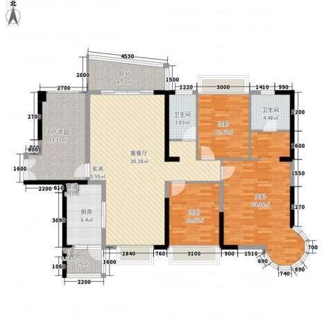 强兴楼3室1厅2卫1厨120.25㎡户型图