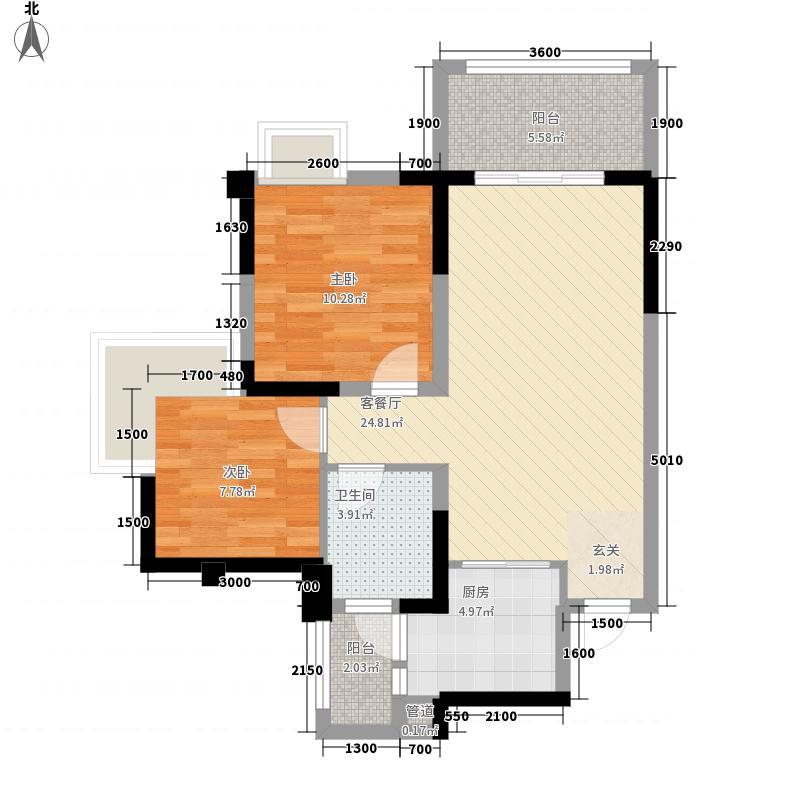 中港ccpark8.00㎡8、9栋A1型标准层户型2室2厅1卫1厨