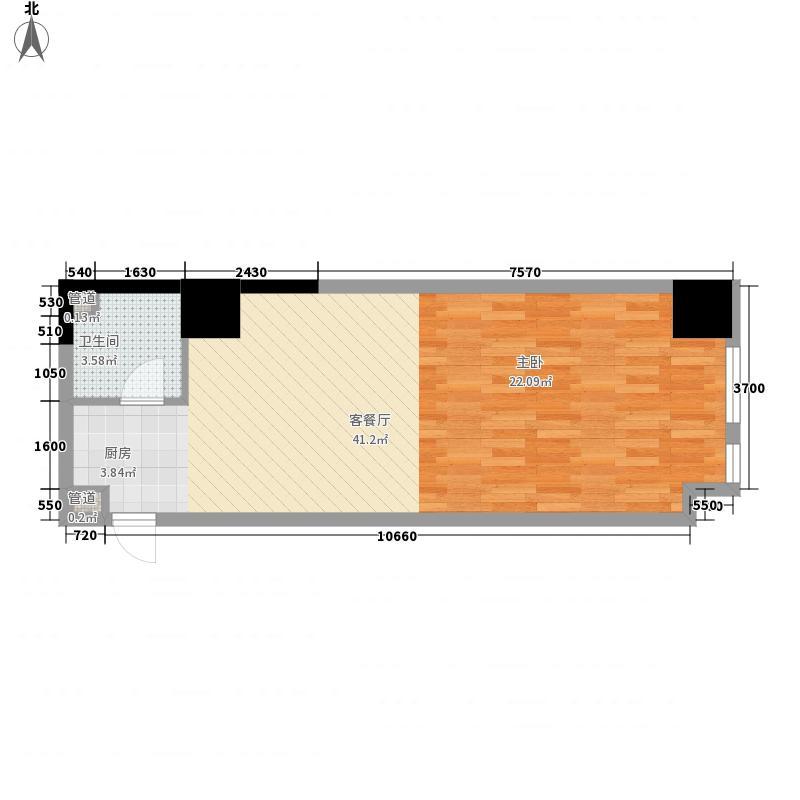如意商务公寓64.18㎡8户型1室1厅1卫1厨