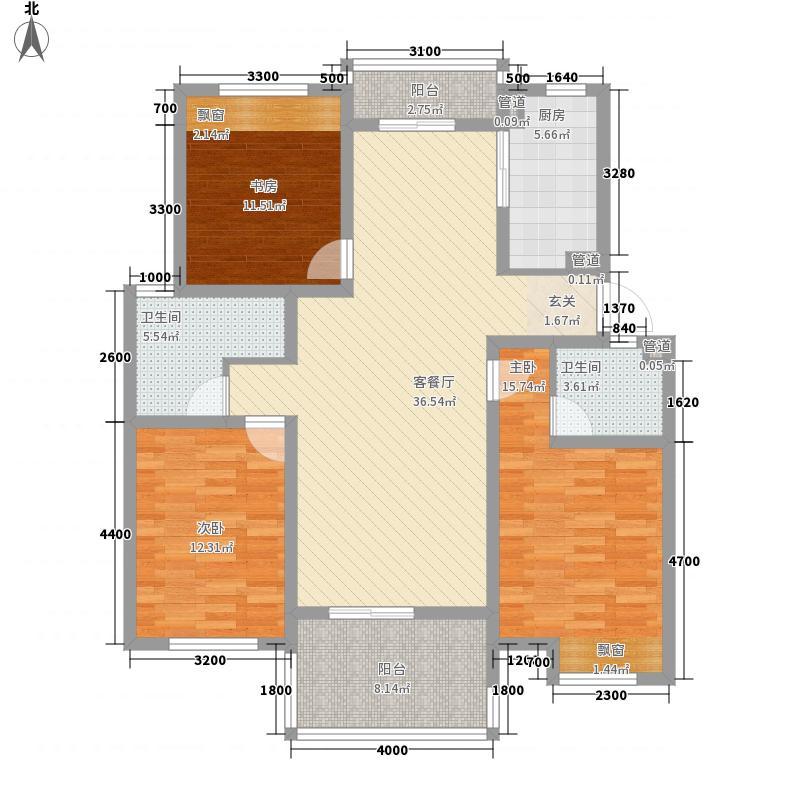 冠达豪景东苑117.00㎡E1户型3室2厅2卫
