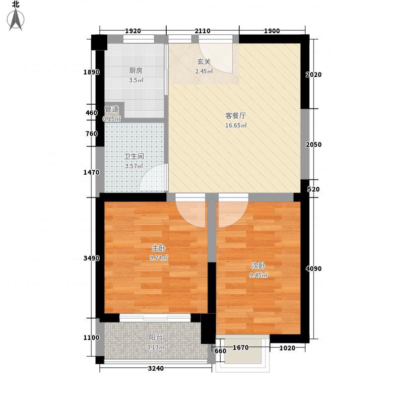 泰禾红树林67.00㎡D4#B户型2室2厅1卫1厨