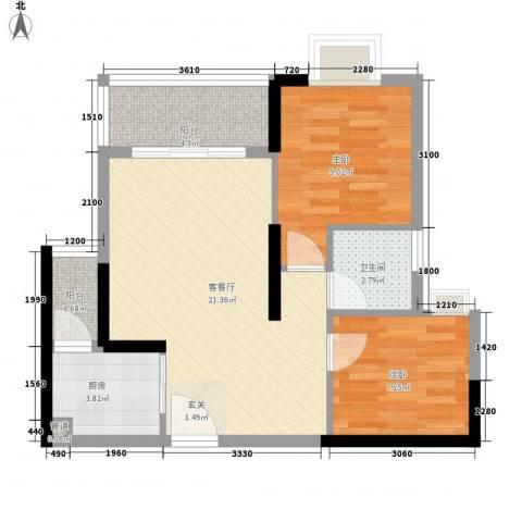 金茂精英现代城2室1厅1卫1厨67.00㎡户型图