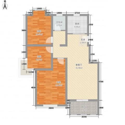 海峡・湖尚城3室1厅1卫1厨82.30㎡户型图