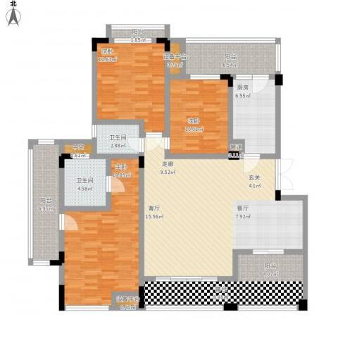 广厦城 广厦城・洛卡庄园3室1厅2卫1厨179.00㎡户型图