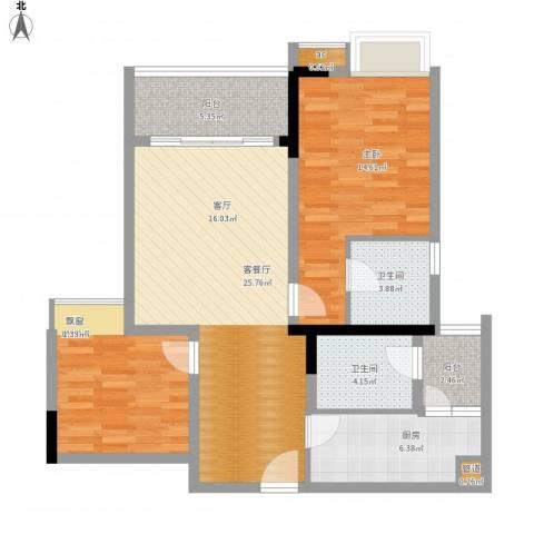 国盛伟岸滨洲2室1厅2卫1厨107.00㎡户型图