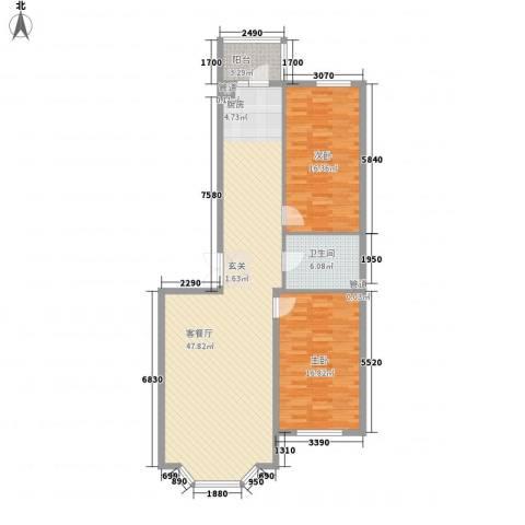 林海华庭2室1厅1卫0厨90.51㎡户型图
