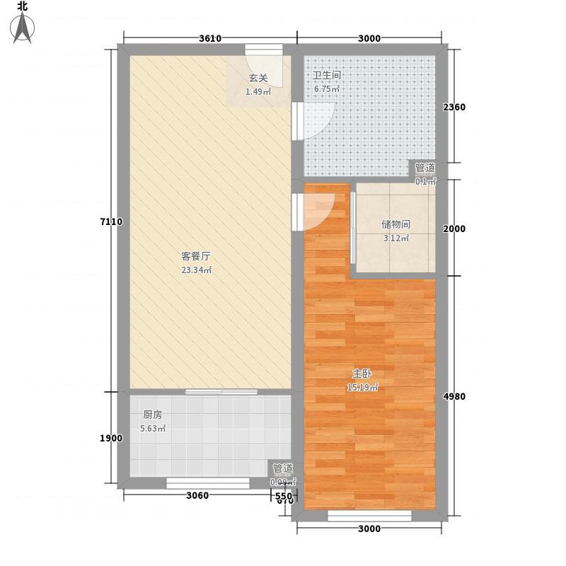 四环花园1户型2室1厅1卫1厨