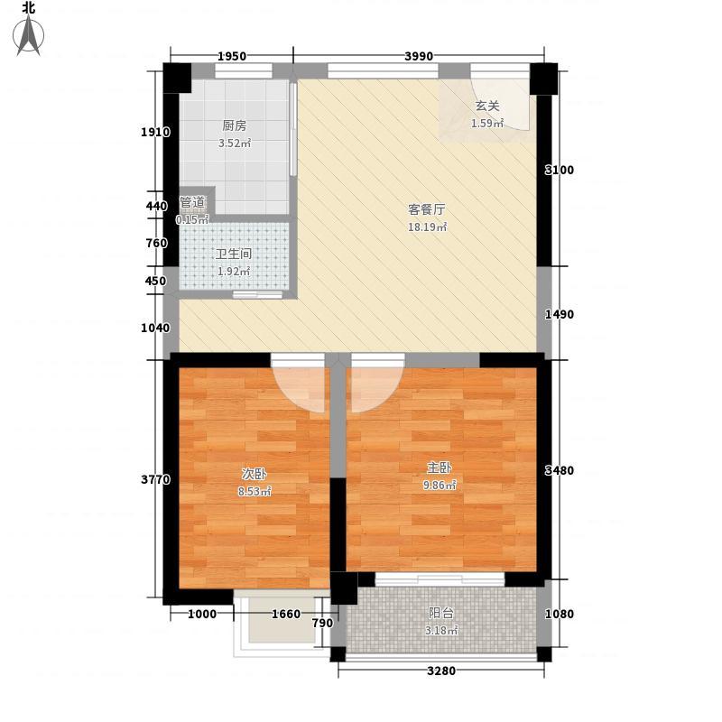 泰禾红树林66.00㎡D4#C户型2室2厅1卫1厨