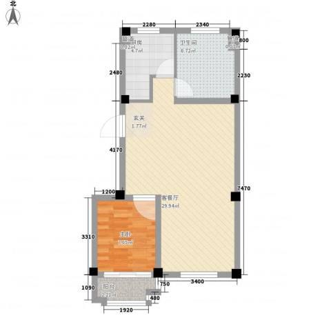 天立温泉1室1厅1卫1厨74.00㎡户型图