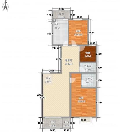 浦东经典家园3室1厅2卫1厨134.00㎡户型图