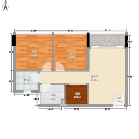 金茂精英现代城3室1厅1卫1厨68.00㎡户型图