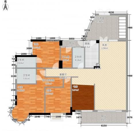 星河传说聚星岛A区3室1厅3卫1厨210.00㎡户型图