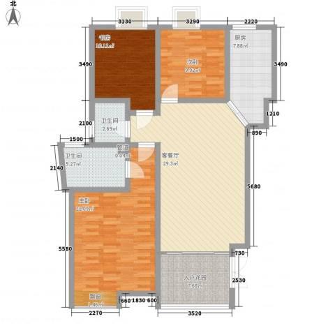 中齐他山3室1厅2卫1厨134.00㎡户型图