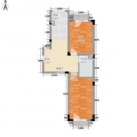 亿洲百旺郦城2室1厅1卫0厨50.99㎡户型图