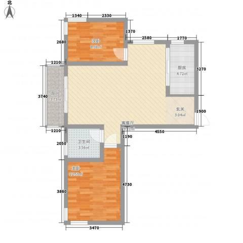 中齐他山2室1厅1卫1厨93.00㎡户型图