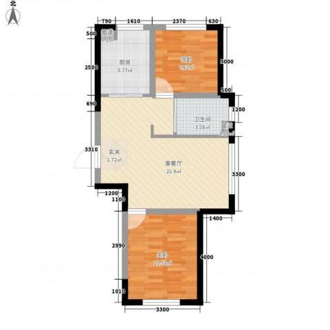梅福苑2室1厅1卫1厨73.00㎡户型图