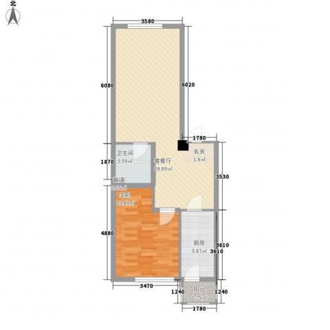 城市摩方1室1厅1卫1厨78.00㎡户型图
