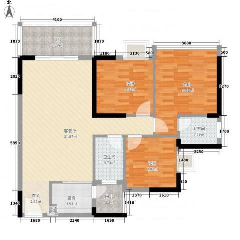 金茂精英现代城3室1厅2卫1厨111.00㎡户型图