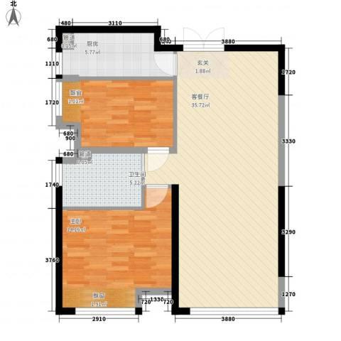 春铁家园2室1厅1卫1厨98.00㎡户型图