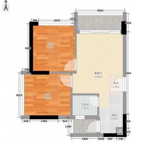 金茂精英现代城2室1厅1卫0厨63.00㎡户型图