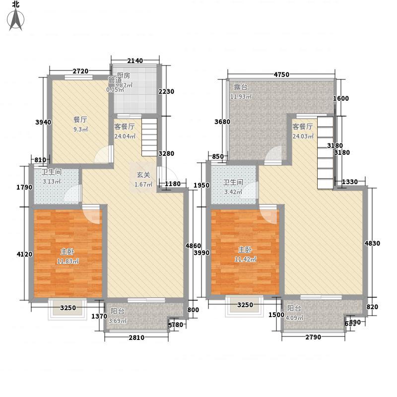 加州第一城156.74㎡复式一期户型3室2厅2卫1厨