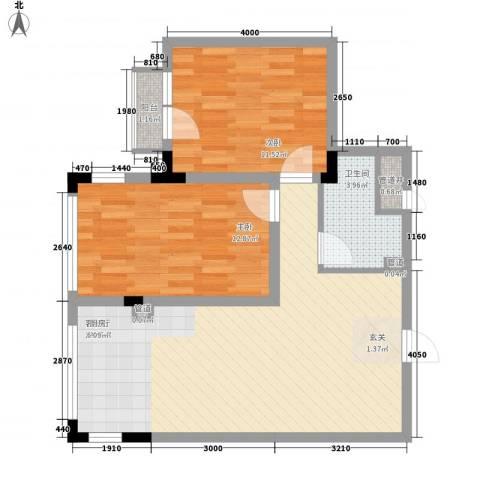 亿洲百旺郦城2室1厅1卫0厨79.00㎡户型图