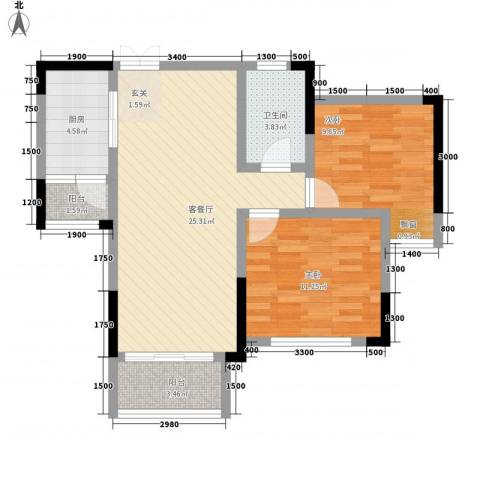 拓新香国城一期2室1厅1卫1厨83.00㎡户型图