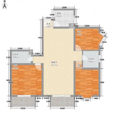 胜利新村3室1厅2卫1厨96.38㎡户型图