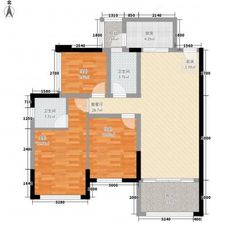 绿茵温莎堡香堤3室1厅2卫1厨78.46㎡户型图